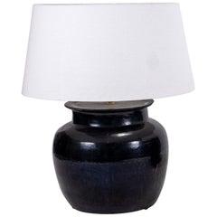 Monumental Black Glazed Pottery Lamp