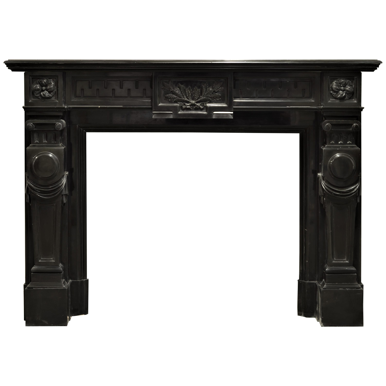 Monumental Black Marble Louis XVI Fireplace Mantel