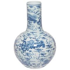 Monumental Blue and White Gooseneck Vase with Fu Dogs