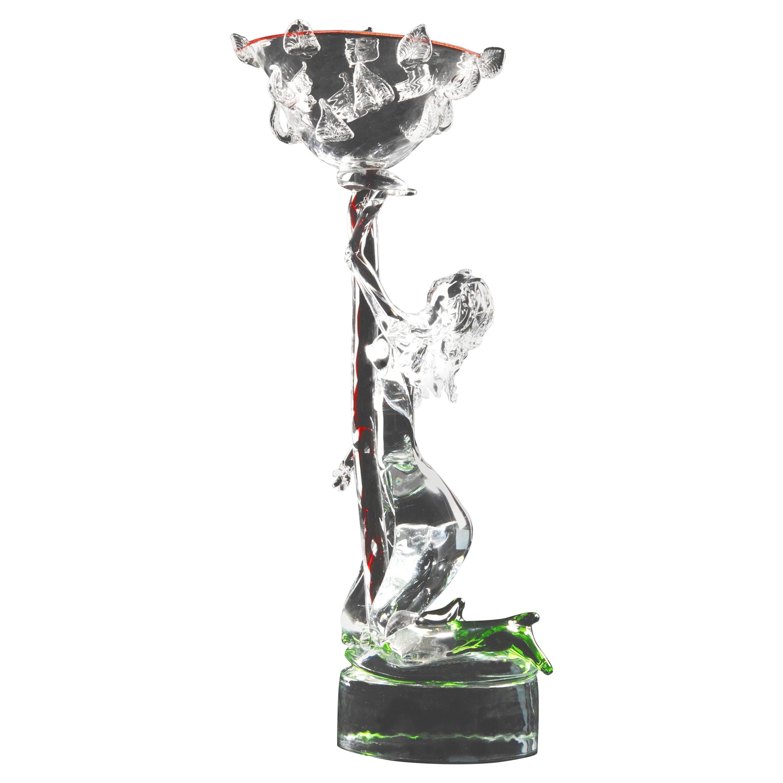 Monumental Bohemian Czech Contemporary Erotic Figural Art Glass Sculpture