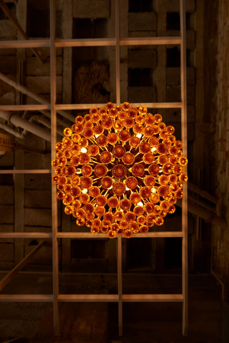 Monumental brass and amber Murano glass tear drop flush mount or chandelier. The extra huge flush mount is a real eye catcher in every living room or lobby and brings a wonderful light to every room. 18 x E14 bulbs. 2 pieces available.  To be on