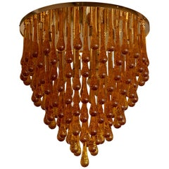 Monumental Brass and Murano Glass Tear Drop Flush Mount