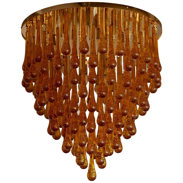 Monumental Brass and Murano Glass Tear Drop Flush Mount For Sale