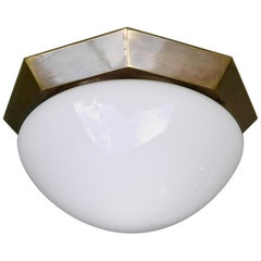 Monumental Brass and White Glass Flushmount, Italy, 1950s