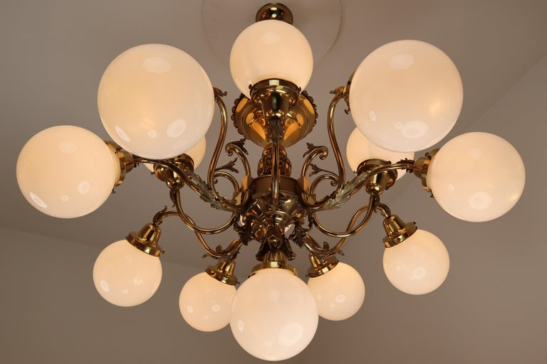 Monumental Brass Chandelier and Four Wall Lights with Opaline Glass Globes For Sale 7