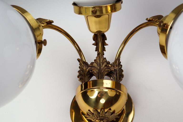 Monumental Brass Chandelier and Four Wall Lights with Opaline Glass Globes For Sale 9