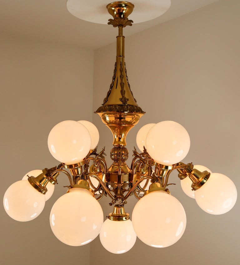 Monumental Brass Chandelier and Four Wall Lights with Opaline Glass Globes For Sale 11