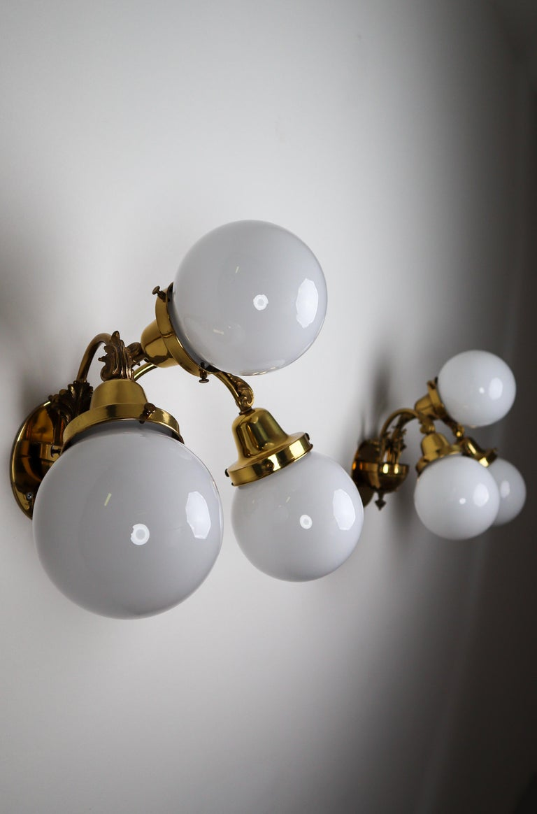 Monumental Brass Chandelier and Four Wall Lights with Opaline Glass Globes For Sale 13