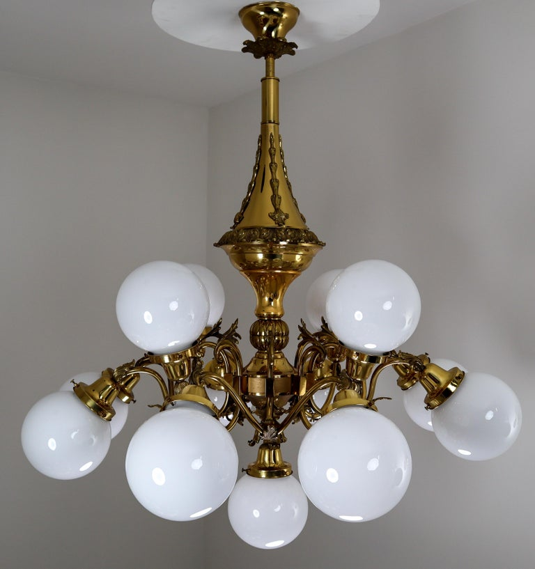 Monumental Brass Chandelier and Four Wall Lights with Opaline Glass Globes For Sale 14