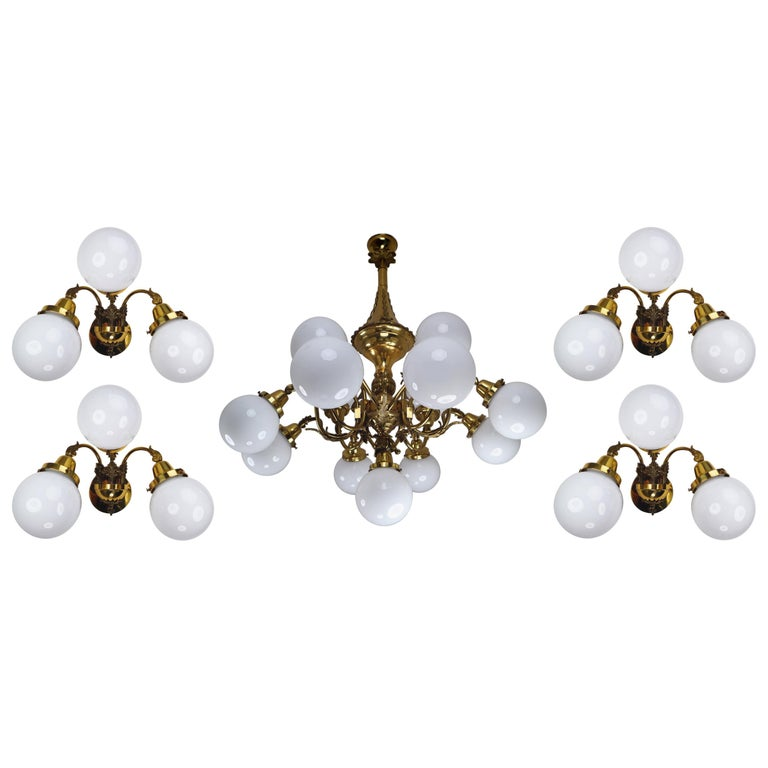 Monumental Brass Chandelier and Four Wall Lights with Opaline Glass Globes For Sale