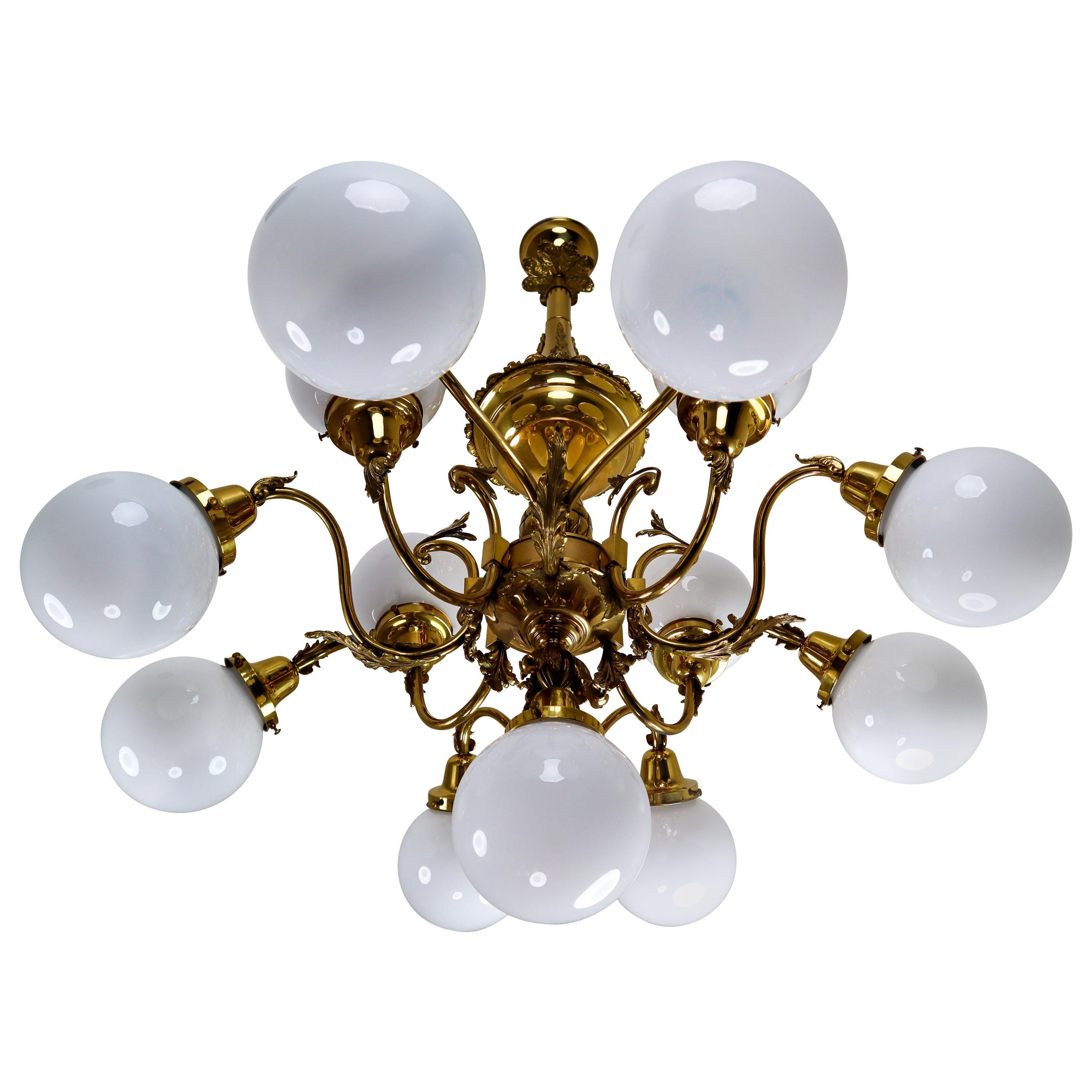 Monumental Brass Chandelier with Opaline Glass Globes, National Gallery Praque