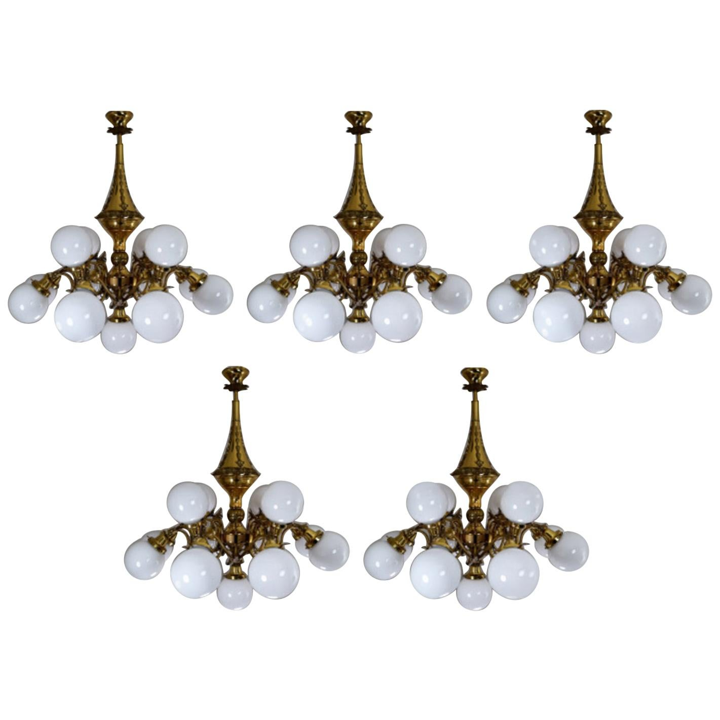 Monumental Brass Chandeliers with Opaline Glass Globes, National Gallery Praque