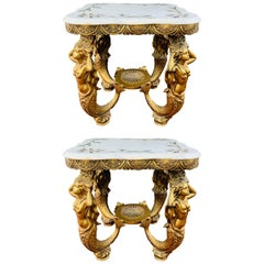 Monumental Brass Myth Mermaid Sculptural & Marble Top Side or End Table, a Pair