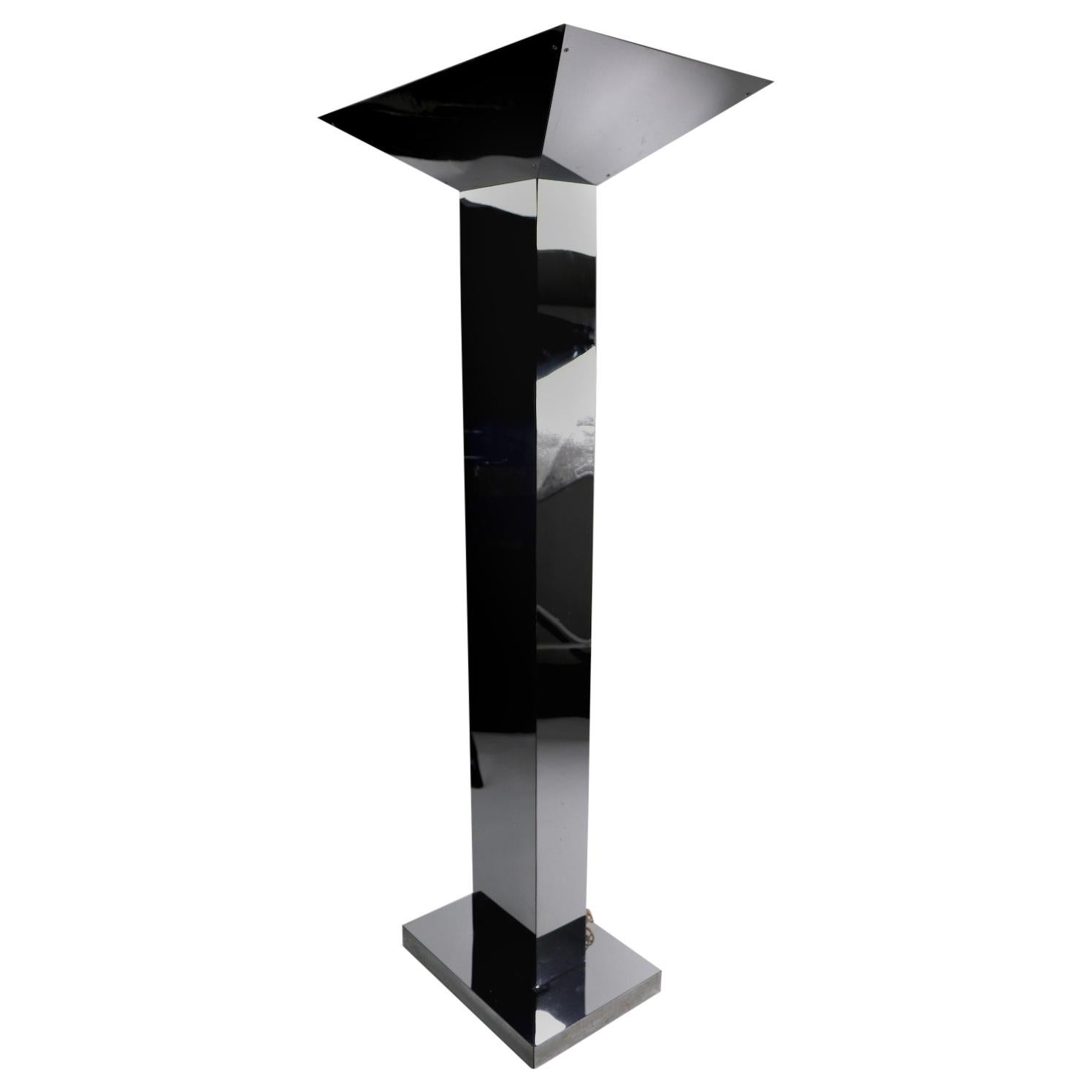 Monumental Bright Chrome Torchère  Floor Lamp Attributed to Jere