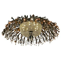 Monumental Bronze and Floral Crystal Chandelier with Provenance