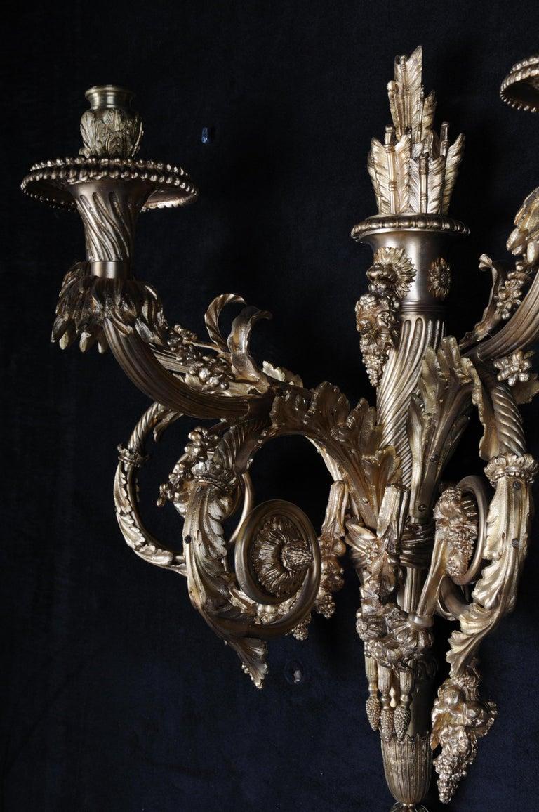 Monumental Bronze Applique, Sconce Louis XVI Style For Sale 5