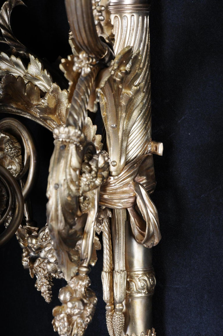 Monumental Bronze Applique, Sconce Louis XVI Style For Sale 14