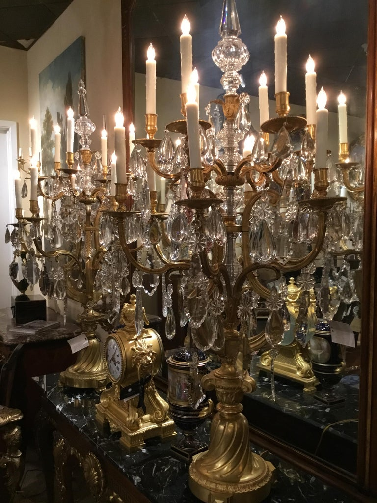 French Monumental Bronze Dore Pair of Crystal Candelabrum For Sale