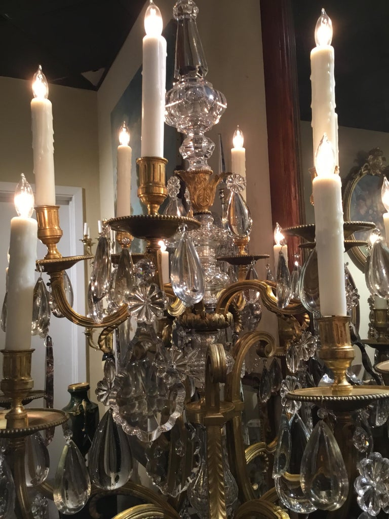 19th Century Monumental Bronze Dore Pair of Crystal Candelabrum For Sale