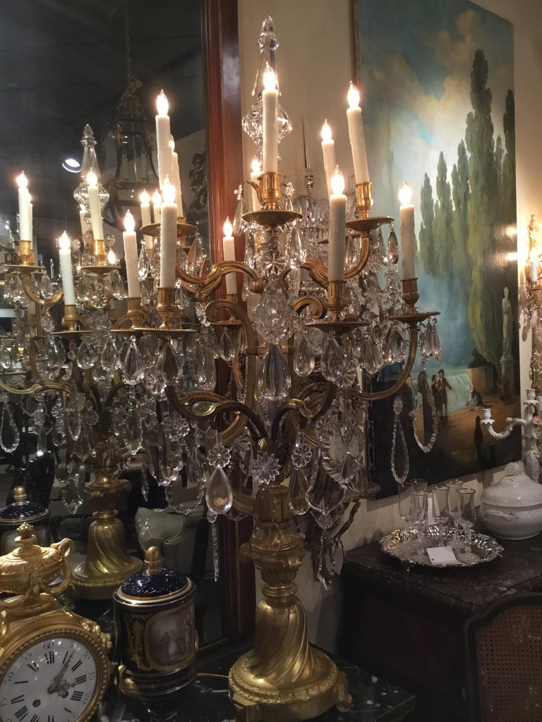 Monumental Bronze Dore Pair of Crystal Candelabrum For Sale 1