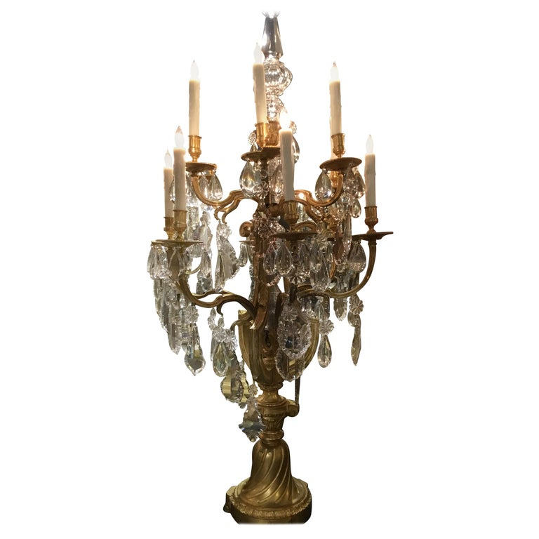 Monumental Bronze Dore Pair of Crystal Candelabrum For Sale