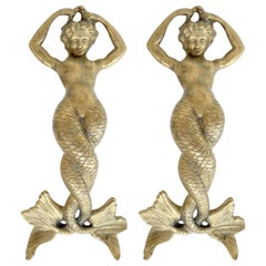 Monumental Bronze Mermaid Handles or Door Knockers