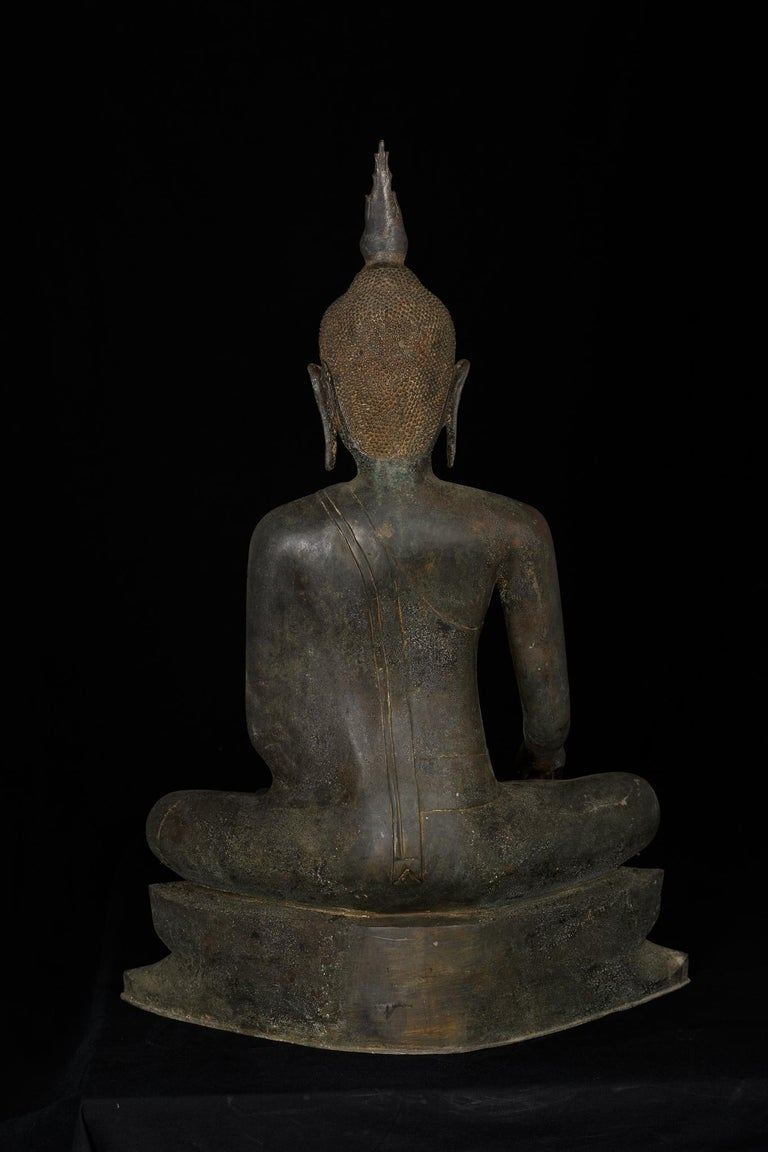Monumental Bronze Seated Enlightenment Buddha, 19th Century, Old UK Collection For Sale 7