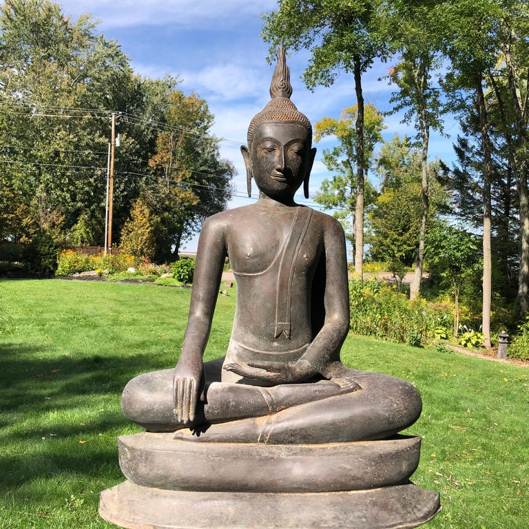 Fine Indoor or garden choice, one of our finest and largest Bronze Buddhas we have had the pleasure of owning.  From a fifty year old UK Buddhist collection comes one of our tallest Buddhas, 33