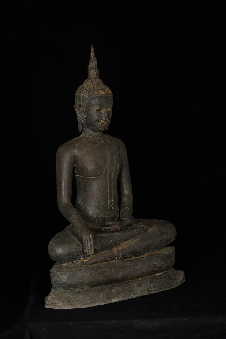 Thai Monumental Bronze Seated Enlightenment Buddha, 19th Century, Old UK Collection For Sale