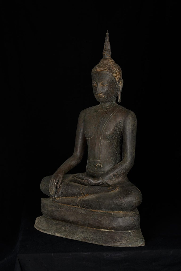 Cast Monumental Bronze Seated Enlightenment Buddha, 19th Century, Old UK Collection For Sale