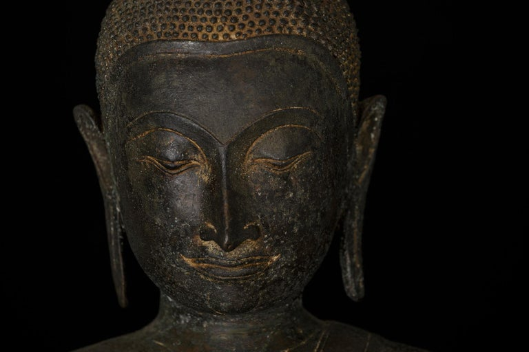 Monumental Bronze Seated Enlightenment Buddha, 19th Century, Old UK Collection For Sale 1