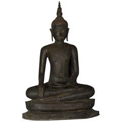 "Monumental Bronze Seated Enlightenment Buddha, 33"" Tall; 19thc.Old UK Collection"