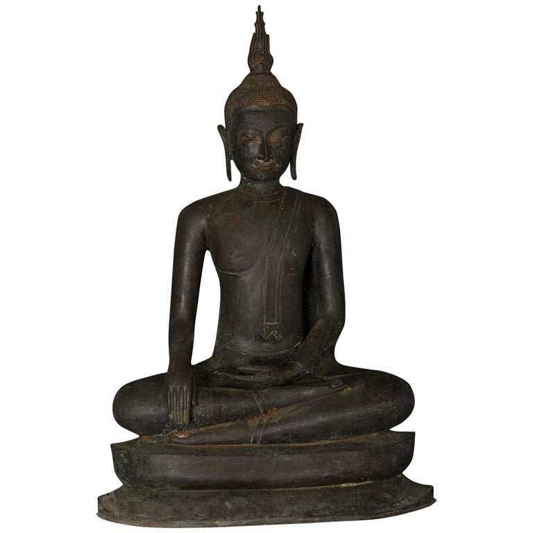 Monumental Bronze Seated Enlightenment Buddha, 19th Century, Old UK Collection For Sale