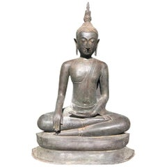 "Monumental Bronze 33"" Seated Enlightenment Buddha 19thc  Old UK Collection"