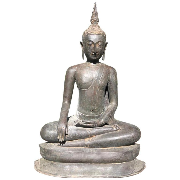 """Monumental Bronze 33"""" Seated Enlightenment Buddha 19thc  Old UK Collection For Sale"""