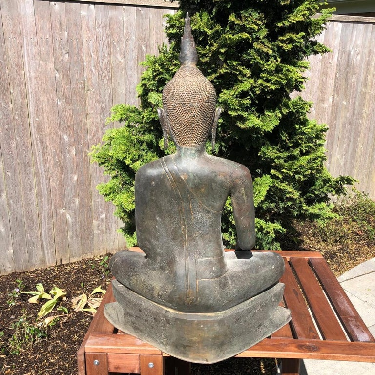 Monumental Bronze Seated Enlightenment Buddha, 19th Century Old UK Collection For Sale 9