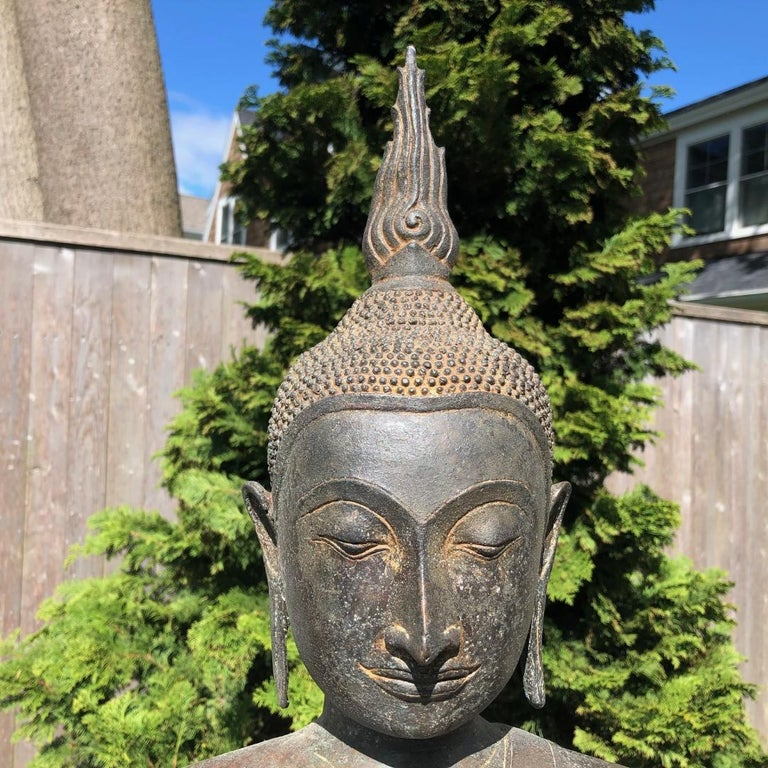 Thai Monumental Bronze Seated Enlightenment Buddha, 19th Century Old UK Collection For Sale