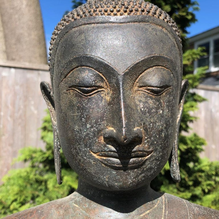 Cast Monumental Bronze Seated Enlightenment Buddha, 19th Century Old UK Collection For Sale