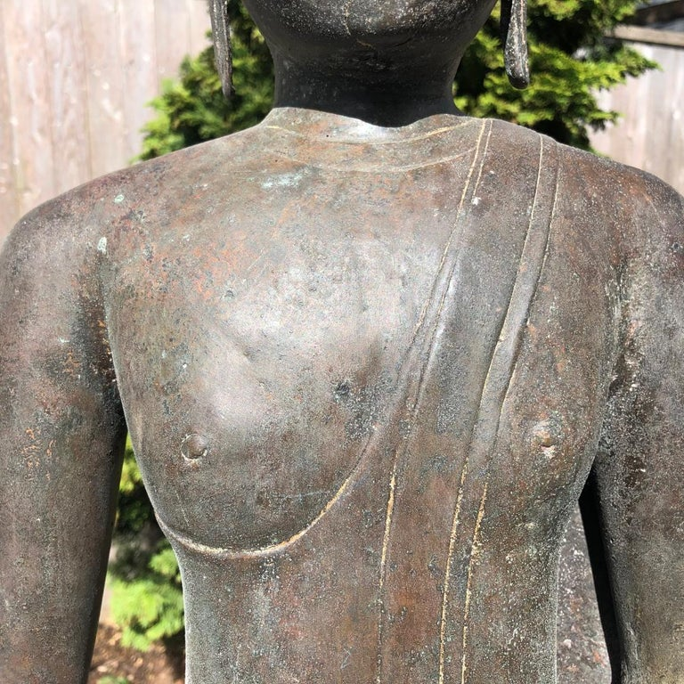 Monumental Bronze Seated Enlightenment Buddha, 19th Century Old UK Collection In Good Condition For Sale In Shelburne, VT