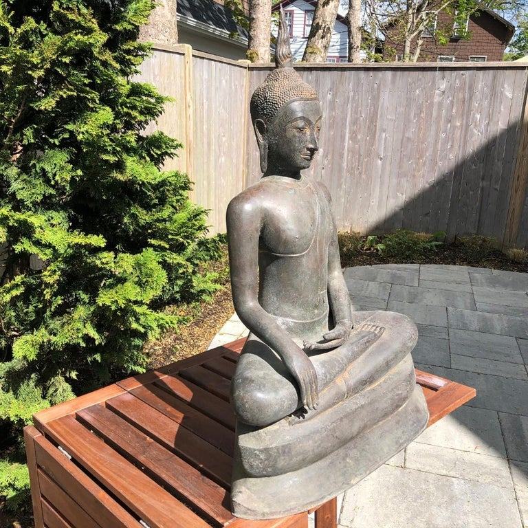 Monumental Bronze Seated Enlightenment Buddha, 19th Century Old UK Collection For Sale 2
