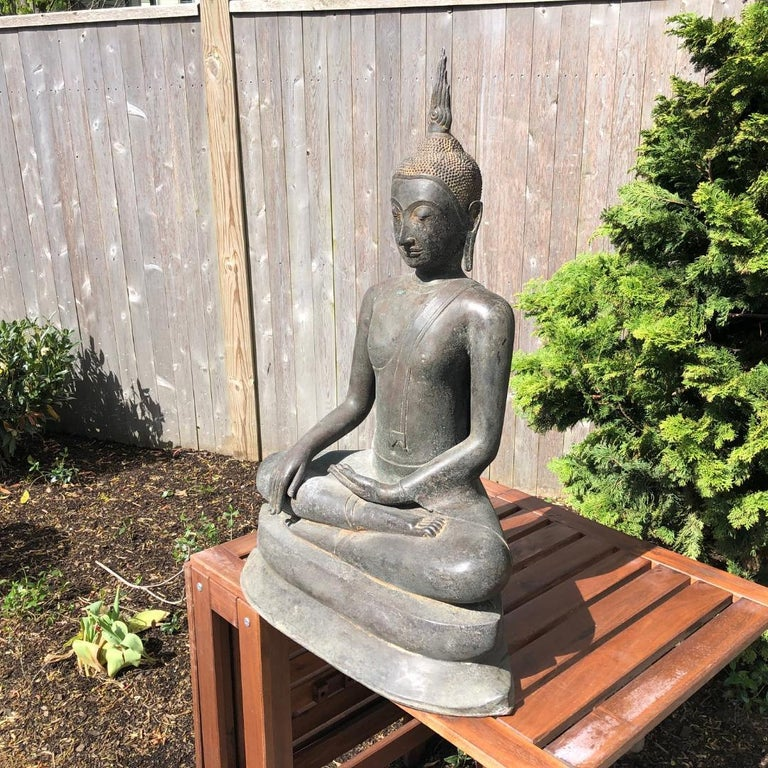 Monumental Bronze Seated Enlightenment Buddha, 19th Century Old UK Collection For Sale 3
