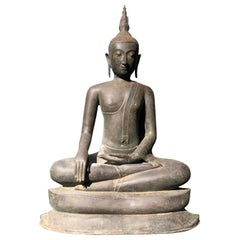 "Monumental 33"" Tall Bronze Serene Enlightenment Buddha, 19thc,Old UK Collection"