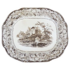 Monumental Brown Transferware Serving Plate, England, 1880s