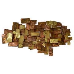 Monumental Brutalist Brass & Copper Wall Sculpture, Illegibly Signed & Dated '80