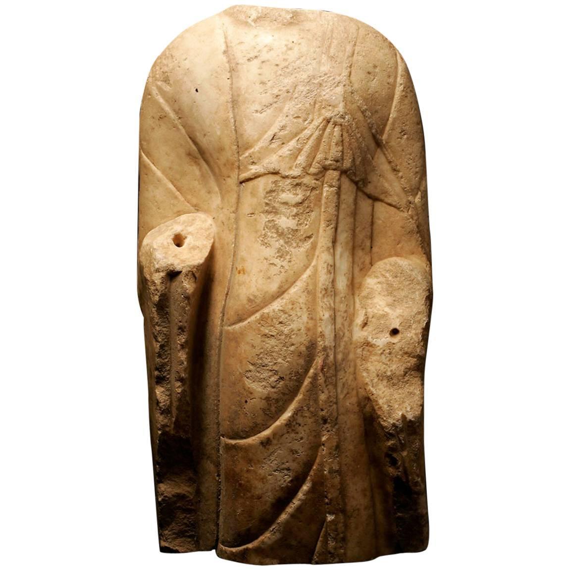 Monumental Buddha Torso White Marble Sculpture - Tang Dynasty China 618-907 AD