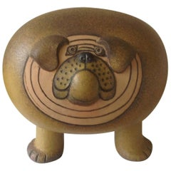 Monumental Bulldog Pottery Sculpture by Lisa Larson for Gustavsberg