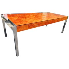 Monumental Burl and Stainless Steel Executive Desk by Leon Rosen for Pace