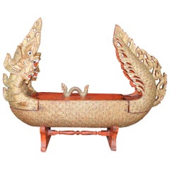 Monumental Burmese Carved Wood Royal Barge Dragon Boat Box Sculpture