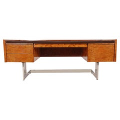 Monumental Cantilevered Mid-Century Modern Executive Desk in Burl and Chrome