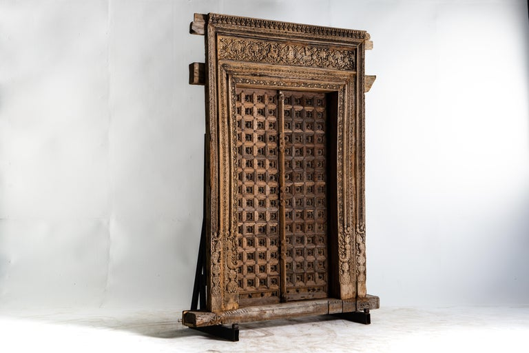 Monumental Carved Indian Entrance Doors In Good Condition For Sale In Chicago, IL